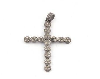 VALENTINE DAY SALE 1 Pc Pave Diamond Designer Cross 925 Sterling Silver Pendant - Designer Cross Pendant 39mmx31mm Pd1414