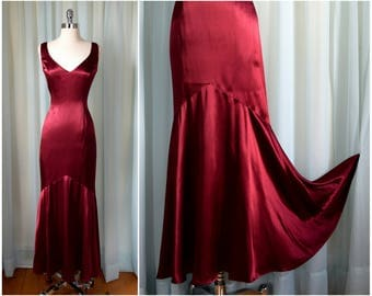 vintage 1980s Ruby Red Mermaid Panel Gown   Small   vint 80s satin dress   pinup girl dress   sleevless dress   evening party occasion gown
