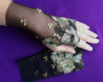 Lace Fingerless Gloves, Black Floral Embroidered  - Fall, Wedding, Gothic, Regency, Tribal, Bellydance, Goth, Bridesmaid, Vampire
