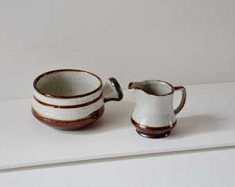 ON SALE: French milk and sugar pot set. A lovely pair of french ceramic jug and bowl for everyday use.