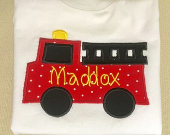 Monogrammed Fire Truck Applique Shirt