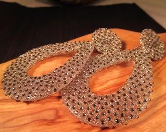 Boho Silver Wire Marcasite Dangle Earrings