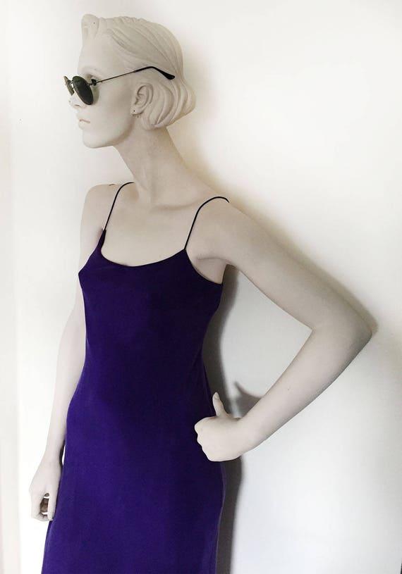 1990s silk Purple slip dress// Iconic minimalist Kate Moss dress // Jones New York// 1990s womens size small