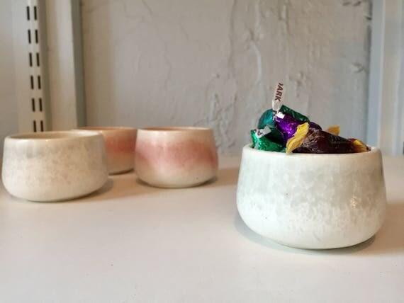 ceramic ramekin- multipurpose dish-kitchenware- White and green- set of two- NEW!