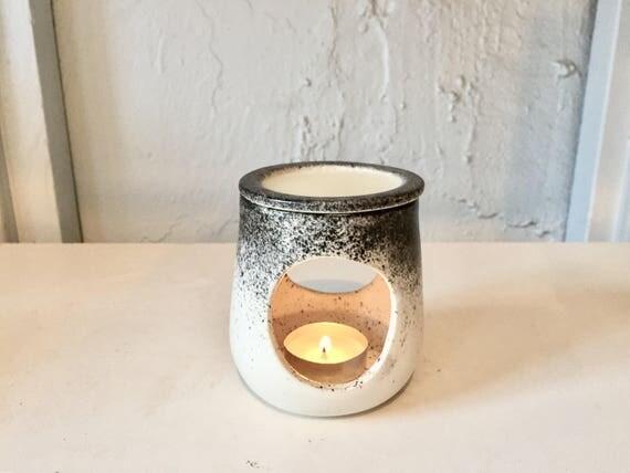 ceramic oil burner/wax melter - White and black- handmade- NEW!
