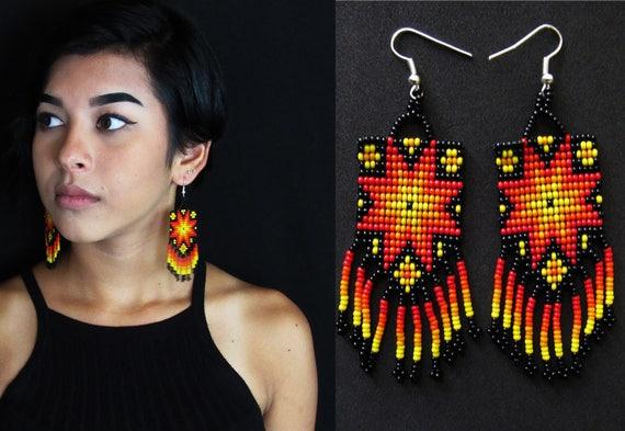 Tribal Boho Sun Earrings, Native American Style Starburst Earrings, Beaded Earrings, Huichol Earrings, Mexican Beaded Earrings, Authentic