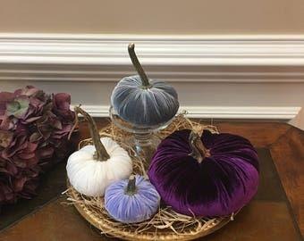 Silk Velvet Pumpkins- 4 Purple Majesty Silk Velvet Pumpkins