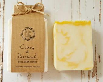 Handmade Soap Citrus & Patchouli, Shea Butter Soap, Essential Oils
