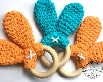 Trio bunny ears teething ring made of 100% cotton fiber and non-varnished maple wood for baby teething ring made of natural materials no BPA