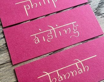 Hindu Samarkan Font Place Cards for Wedding, Handwritten in Calligraphy
