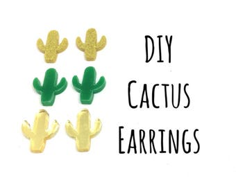 DIY Cactus Acrylic Earring Blanks, 14mm earring, monogram earrings, acrylic blanks, cactus jewlery, green gold cactus, jewelry making