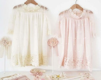 Child lace dress, Angel dress, Christening dress. special occasion baby dress. cotton lace dress. lace baby dress.