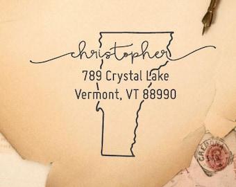 Vermont State Custom Return Address Stamp, Housewarming, Gift - 34
