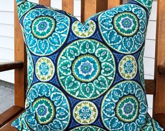 18x18 pillow cover Teal geometric design outdoor pillow Decorative Throw Pillow