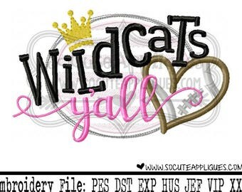Football Embroidery design, Wildcats yall, football sister applique, football mom, socuteappliques, embroidery sayings, touchdown applique