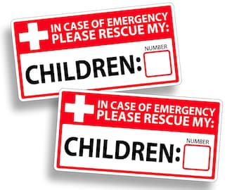 Children Emergency Child Rescue Sticker Vinyl Decal 1st First Aid Responder FIRE Safety Safe 911 Alert Window Door