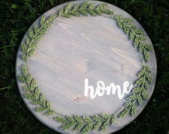 18in HOME String Art Round, circle string art, home decor, farmhouse decor, farmhouse home sign