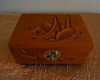 Vintage Asian Wood Carved Jewelry Box