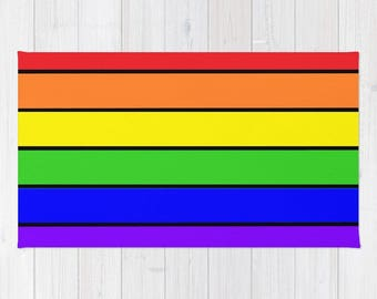 Area Rug, Rainbow Rug, Rainbow Striped Rug, Woven Area Rug, Colorful Rug, Striped Rug, 2x3 Rug, 3x5 Rug, 4x6 Rug , Accent Rug