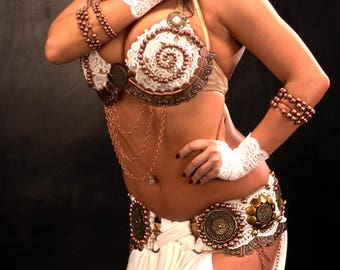 White Tribal Fusion Belly Dance Fantasy Vintage Ethnic Costume whole set YOUR SIZE