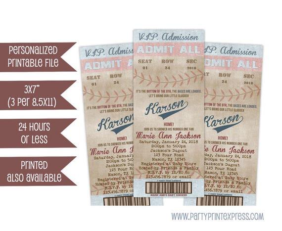 Printable Baseball Baby Shower Invitations Baseball Ticket