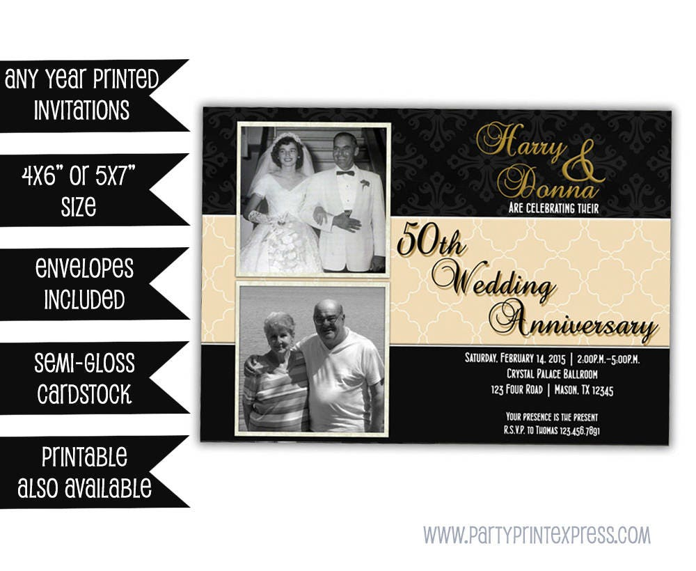50th Wedding Anniversary Invitation Ideas: Black Gold 50th Wedding Anniversary Invitations 50th Wedding
