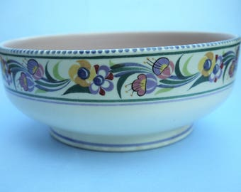 Hand Decorated POOLE POTTERY Fruit Bowl Floral Pattern E/EE  C1950 - 55