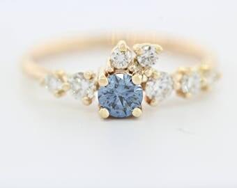diamond engagement ring set with white diamonds and blue diamond simple engagement ring lab