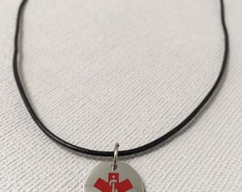 Summer Sale Medical Alert Necklace - Leather Necklace - Personalized ID Necklace