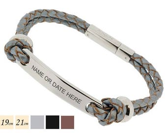 Summer Sale ID Steel Bar Leather ID Bracelet - Personalized Engraved Gift For Him or Her in Grey, Black or Brown