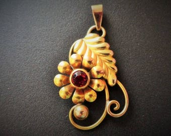 Art Deco Vintage Retro Carl Art 10k Yellow and Rose Gold Flower and Leaf Pendant