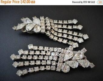 SALE Vintage Large Silver Rhinestone Earrings Hollywood Vintage Costume Jewelry Rhinestone Earrings Vintage Clip Earrings Wedding Jewelry