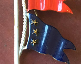 Red and Blue Nautical Flags Brooch