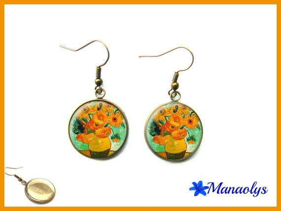 Van gogh sunflowers, painting, art glass 3170 cabochons earrings