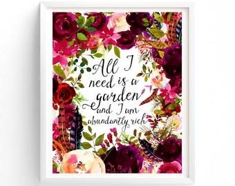 All I Need Is A Garden, Printable Art, Botanical Leaves, Roses Art. Pink Floral Printable, Boho Office Art, Gift For Women