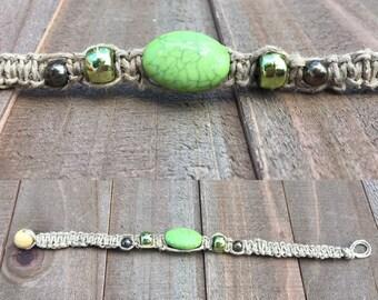 Green & silver hemp bracelet