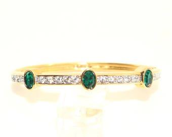 SWAROVSKI Signed SAL Emerald Green and Clear Crystal Hinged Gold Tone Bangle / Bracelet Vintage 1980s