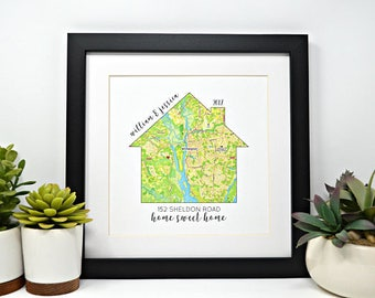 First Home Gift- Housewarming Present, Map of First Home, Moving Gift, Home is where the heart is, latitude longitude