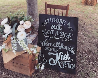 Choose a seat not a side| Wedding sign|  Rustic Sign | Wedding Props