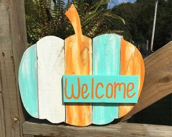 Wooden Pumpkin - Fall Porch Sign - Fall Home Decor - Wood Pumpkin Sign - Pumpkin Welcome Sign - Fall Welcome Sign - Pumpkin Door Hanger
