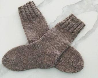 Hand Knitted Undyed Wool Socks for Women. Size 8-9.
