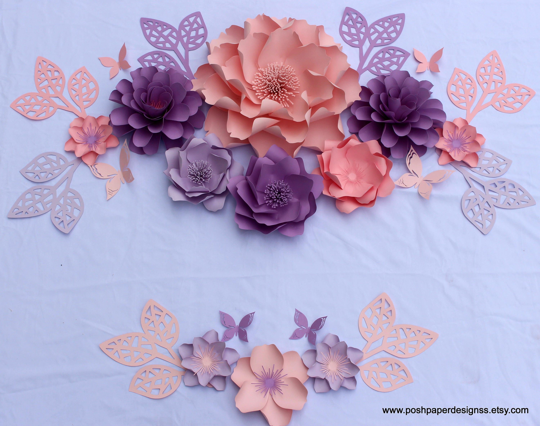 Pink purple paper flower wall decor large paper flower backdrop pink purple paper flower wall decor large paper flower backdropnursery wall art mightylinksfo