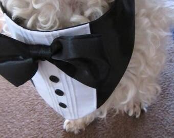 Black and White Dog Tuxedo Bandana Wedding clothes