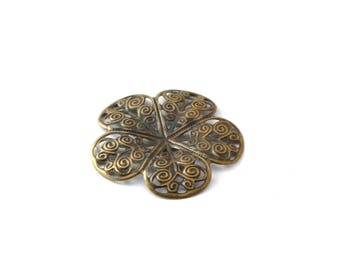 36 mm bronze filigree flower color print / ES004