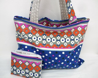 Colors bags all blue beige ethnic fabric tote bag