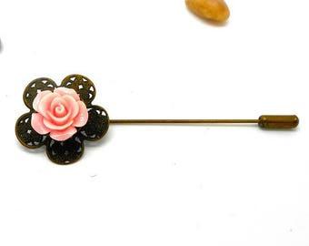 Vintage cabochon rose flower bronze brooch pin