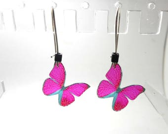 Earrings sleepers silver Butterfly pink and black beads