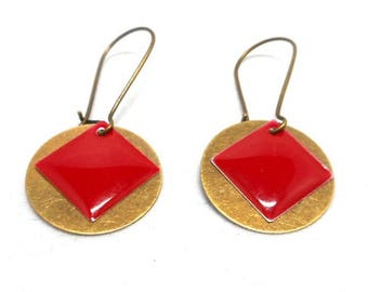 Earrings sleepers bronze round sequin and red enameled
