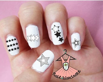 30 Star Variation Nail Decals (Water Slide Decals)  (Waterslide Nail Decal)