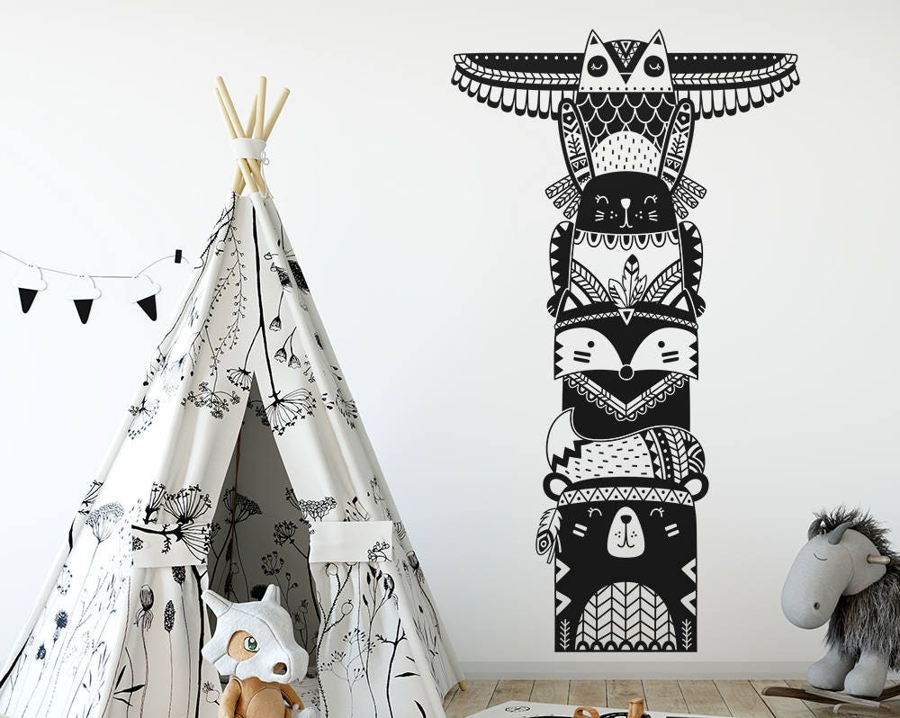 totem pole wall decal woodland animal tribal decal vinyl